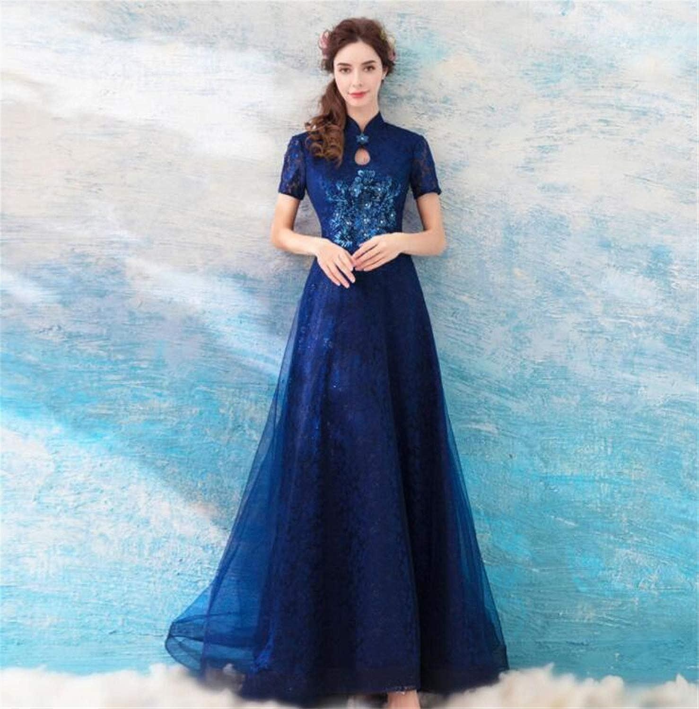 Elegant Ladies Wedding Dress, Bridesmaid Dress, Ceremonial Clothing, Dark bluee