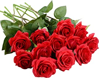 Lvydec Artificial Flowers Silk Rose Flowers - 12 Pcs Red Roses Fake Flowers Real Touch Bridal Wedding Bouquet for Home Wedding Decoration Garden Party Floral Decor