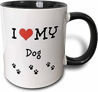 3dRose 183654_4 I I Love My - Dog Two Tone Mug, 11 oz, Black