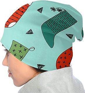 RIPO, Gorro de punto para niños, unisex, diseño de calcetín de Navidad, color azul