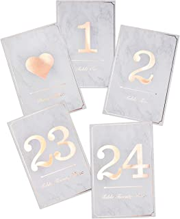 Rose Gold Wedding Table Number Cards - 4x6 Double Sided Calligraphy Foil Design - Numbers 1-24 & Bonus Head Table Card