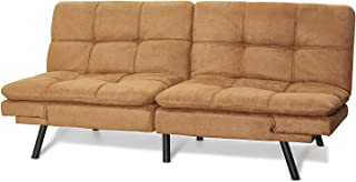 Mainstay' Wooden Frame Memory Foam Split seat and Back Futon in (Futon, Camel) (Futon, Camel)