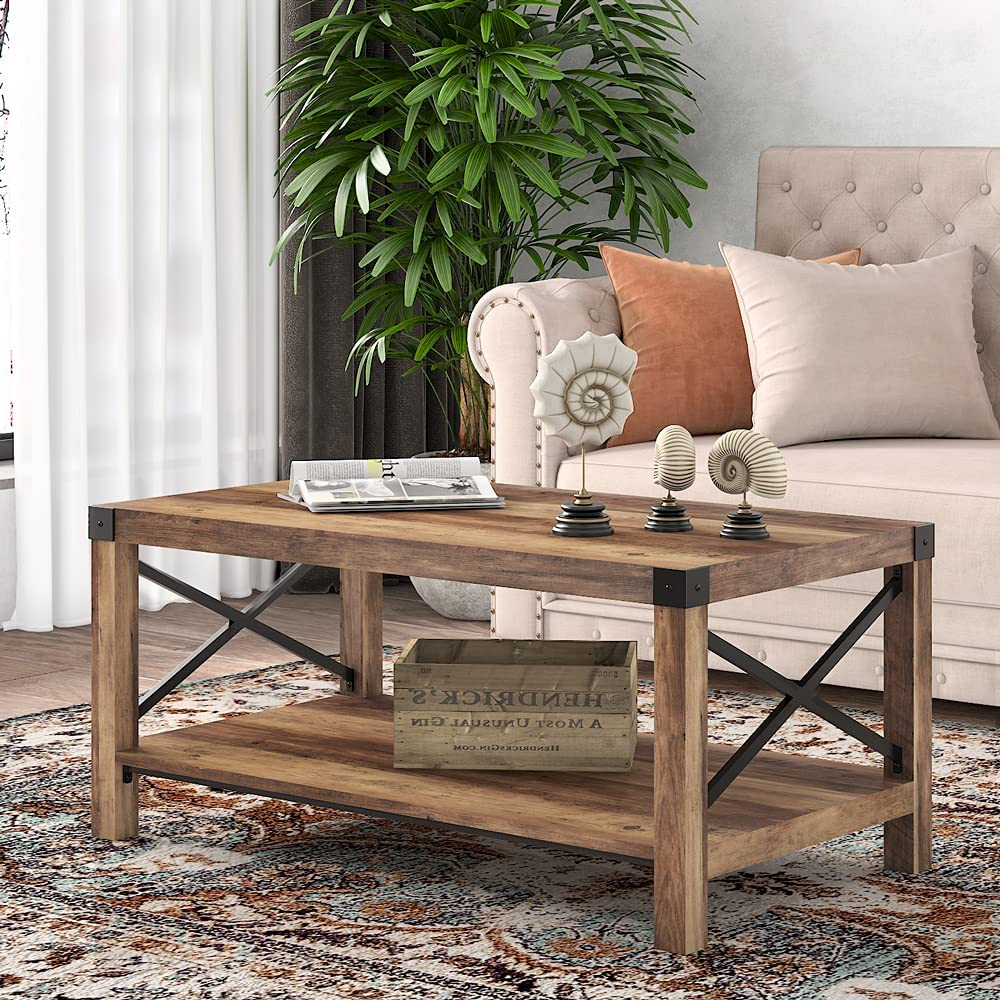 SHA CERLIN 40 Inches Translated Modern Max 77% OFF Table with Coffee Farmhouse X-Shaped