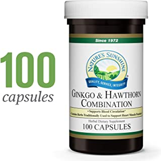 Nature's Sunshine Ginkgo and Hawthorn Combination, 100 Capsules   Herbal Combination Supports Increased Circulation Body-Wide and Helps with Oxygen Utilization in The Heart