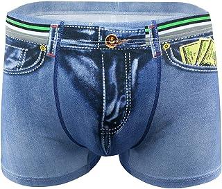 F Fityle Classic Mens Denim Printed Briefs Trunks Pants Shorts Underwear M-2XL