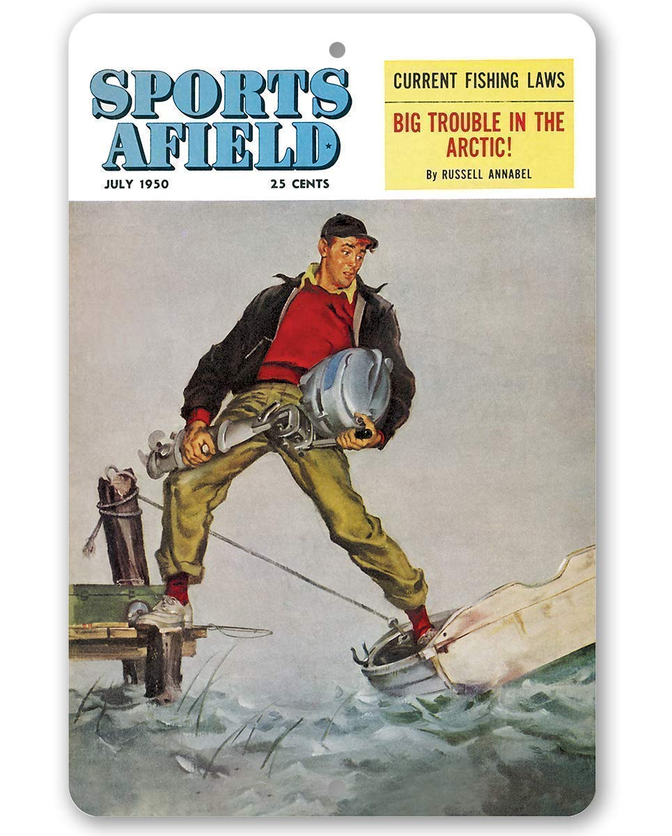 Sports Afield Ready for Fly Fishing Cover Metal Sign Tin 8x1212x18 IndoorOutdoor-For Lake House