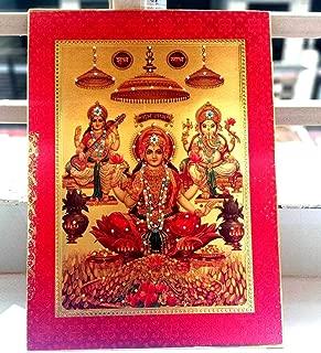 JP PRODUCTS 15 inches Diwali Gold Foil Lakshmi Ganesha Saraswati Wood Art Frame Statue Gift (1 Quantity)