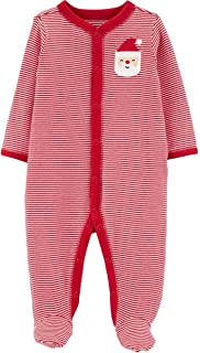 Holiday Santa Cotton Snap-up Built-in Footies Sleep & Play Newborn - 9 Months (Red Striped