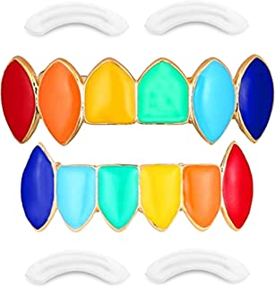 24K Plated Joker Gold Grillz for Mouth Top Bottom Hip Hop Teeth Grills for Teeth Mouth + 2 Extra Molding Bars, Storage Case + Microfiber Cloth (Rainbow Fangs)
