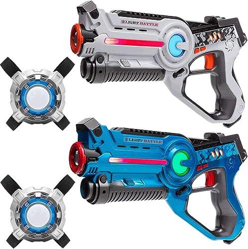 Light Battle 2 Active Pistolas Laser Tag (azul, blanco) + 2 Chalecos - Pistolas de Laser Combat - LBAPV22234