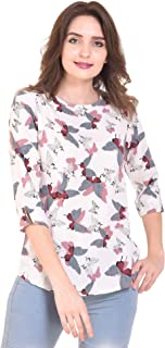 IQRA FASHION Casual 3/4 Sleeve Printed Women White Top