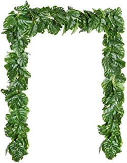Artiflr Artificial Hanging Leaves Vines, 6.5 Ft Fake Turtle Leaves Vine Twigs Plant Leaves Greenery Garland String in Green for Indoor/Outdoor Wedding Home Party Decor