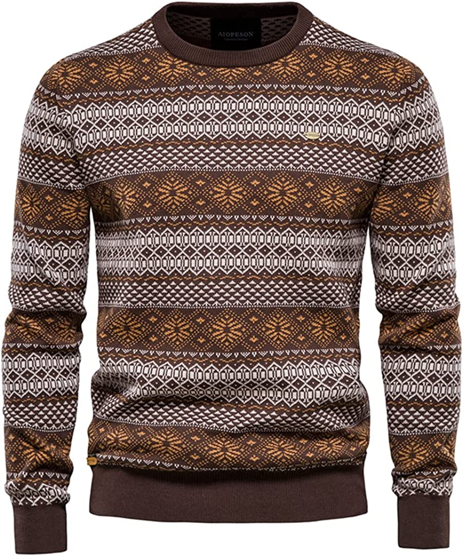 Winter Men O-Neck Pullover Sweaters Cotton Knitted Sweater