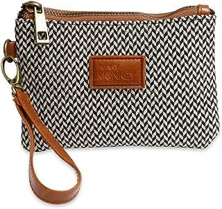 {Jayden Collection} Wristlet Wallet Clutch Phone Purse Handbag Black Gray Herringbone FunkyMonkey Fashion