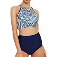Seaselfie Women's Geometrics Placement Print High-Waisted Bikini Set Shirring High Cut Tie at...