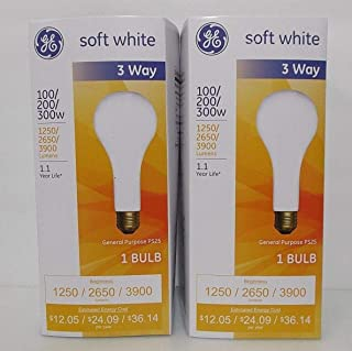 GE 3 Way Incandescent Mogul Base Bulbs 100/200/300 Watt PS25 Soft White 2 PACK