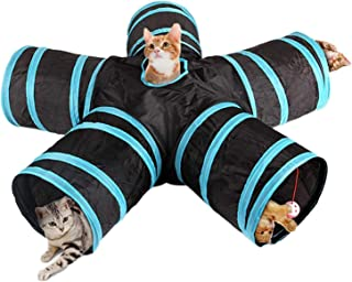 Cat Tunnel Toy 5 Way Tunnels Extensible Foldable Portable Durable Tunnel Toys with Bell Gift for Pet
