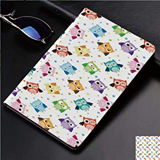 Magnetic Leather Auto Sleep Awake Smart Case Cover for Apple iPad 2 3 4 9.7inch Soft TPU Cute Covers,Colorful Owls Various Facial Expressions Angry Happy