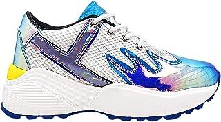 YRU Y.R.U. Blaz3 Platform Sneakers in White/Teal