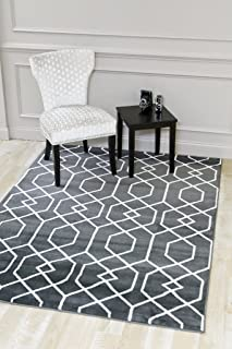 Persian-Rugs Charcoal/White Abstract Trellis Area Rug - 5'2