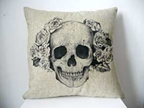 Decorbox Cotton Linen Square Decorative Fashion Throw Pillow Case Cushion Cover Black White Rose Skull 18
