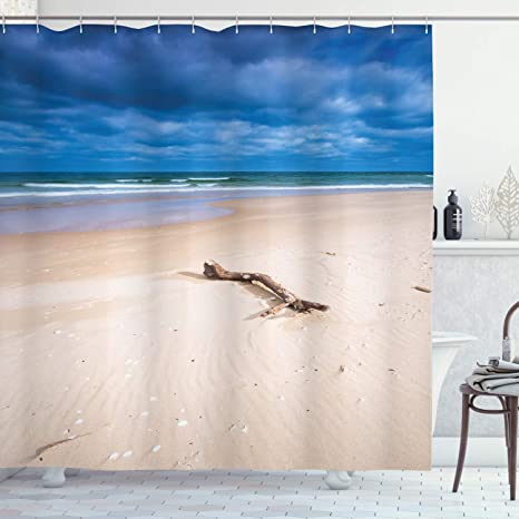 Ambesonne Driftwood Shower Curtain Driftwood On The Deserted Sandy Beach And The Cloudy Sky Digital Style Image Cloth Fabric Bathroom Decor Set With Hooks 70 Long Beige And Blue Home
