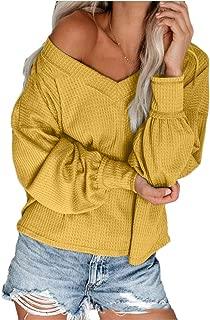 FSSE Womens Long Sleeve Plus Size T-Shirt Fall V Neck Waffler Knit Blouse Tops