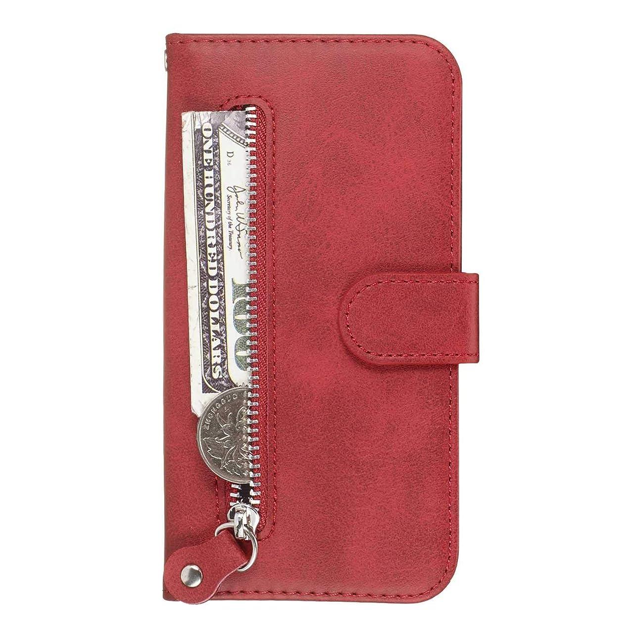 関係広範囲に不快なOMATENTI Huawei Y9 Prime 2019 ケース, 軽量 PUレザー 薄型 簡約風 人気カバー バックケース Huawei Y9 Prime 2019 用 Case Cover, 液晶保護 カード収納, 財布とコインポケット付き, 赤