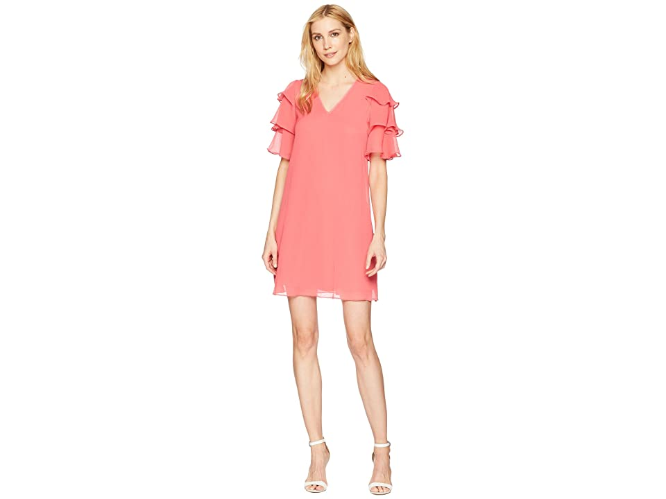 Calvin Klein V-Neck Dress with Tiered Ruffle Sleeve CD8H19LD (Coral) Women