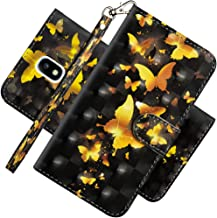 EMAXELER Samsung J7 2018 Case Cover 3D Full Stylish Case Colour Embossing Kickstand Credit Cards Slot PU Leather Flip Wallet with Stand for Samsung Galaxy J7 2018 YX 3D: Golden Butterfly