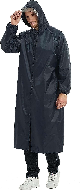 HLLMAN Rain Coat for Mens Ponchos with Hoods Rainwear Waterproof Rain Jacket Lightweight Raincoats Windbreaker for Men Women