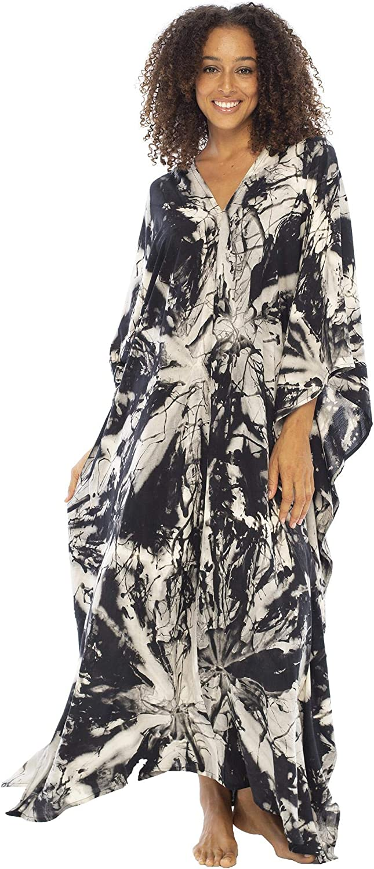 Back From Bali Womens Beach Kaftan Summer Maxi Dress Swimsuit Bathing Suit Cover Up Boho Tie Dye Caftan Rayon