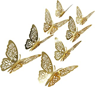 aooyaoo 24pcs/lot 3D Butterfly Kids Wall Stickers Fridge for Nursery Room Decoration (Gold 1)