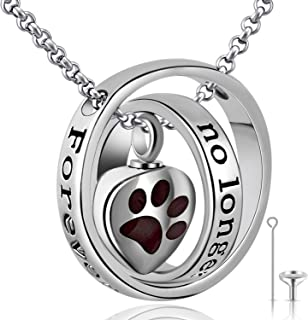 YOUFENG Urn Necklaces for Ashes No Longer by My Side Forever in My Heart Mom Dad Cremation Urn Locket Jewelry