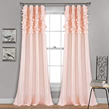 "Lush Decor Blush Circle Dream Window Curtains Panel Set for Living, Dining Room, Bedroom (Pair), 84"" x 54, 84"" x 54"""
