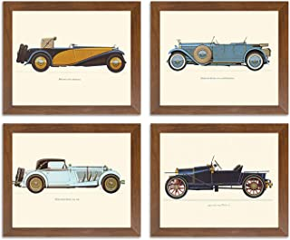Painting Mantra Framed Poster of 'Vintage Car,Bugatti-Mercedes-Delage-Hispano' Framed Art Print Set of 4.