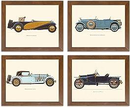 Painting Mantra Framed Poster of 'Vintage Car,Bugatti-Mercedes-Delage-Hispano' Framed Art Print Set of 4.