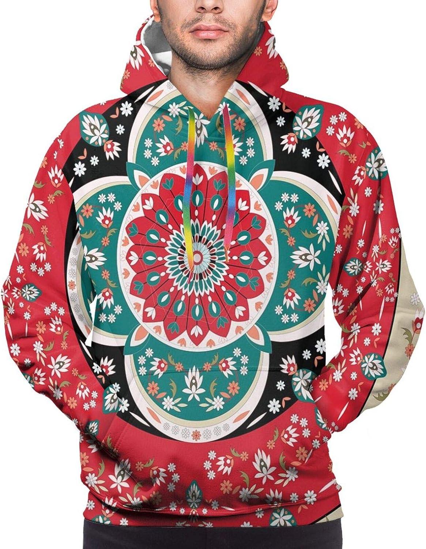 Men's Hoodies Sweatshirts,Circles Pattern Mandala Inspired Floral Arrangements Geometric Rectangles