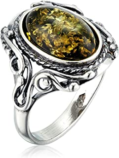 Sterling Silver and Baltic Green Amber Ring Georgine