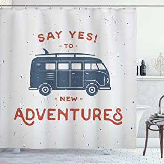 Ambesonne Vintage Shower Curtain, New Adventures Typography with Little Van Hippie Lifestyle Free Spirit Print, Cloth Fabric Bathroom Decor Set with Hooks, 70