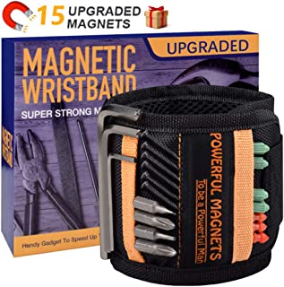 Tools For Men Magnetic Wristband, Best Dad Gift, Unique Gifts For Men, Magnetic Gadget for Man Gifts, 15 Super Strong Magnets, Wrist Tool Holder for Holding Screws, Nails, Drill Bits.(1 Pack)