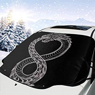 ENXIANGXIJ Ouroboros Takeshi Kovacs Tattoo Altered Carbon Car Windshield Snow Cover, Ice Removal Sun Shade, Fit for Universal Cars (58'' X47'')
