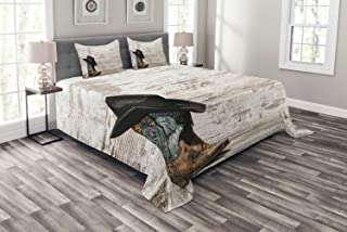 Ambesonne Western Bedspread, Traditional Rodeo Cowboy Hat and Cowgirl Boots Retro Grunge Background Art Photo, Decorative Quilted 3 Piece Coverlet Set with 2 Pillow Shams, Queen Size, Brown Black