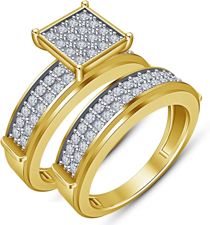 Vorra Fashion Damen-Ring mit 2Stück mit massivem 925Sterling-Silber mit 14Karat, verGoldet