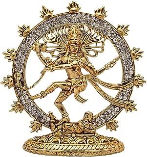 MYRA INC Golden Color Dancing Shiva Nataraja Statue for Car Dashboard