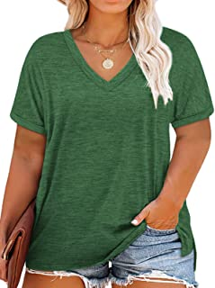 Plus-Size Tops for Women V Neck T Shirts Short Sleeve...