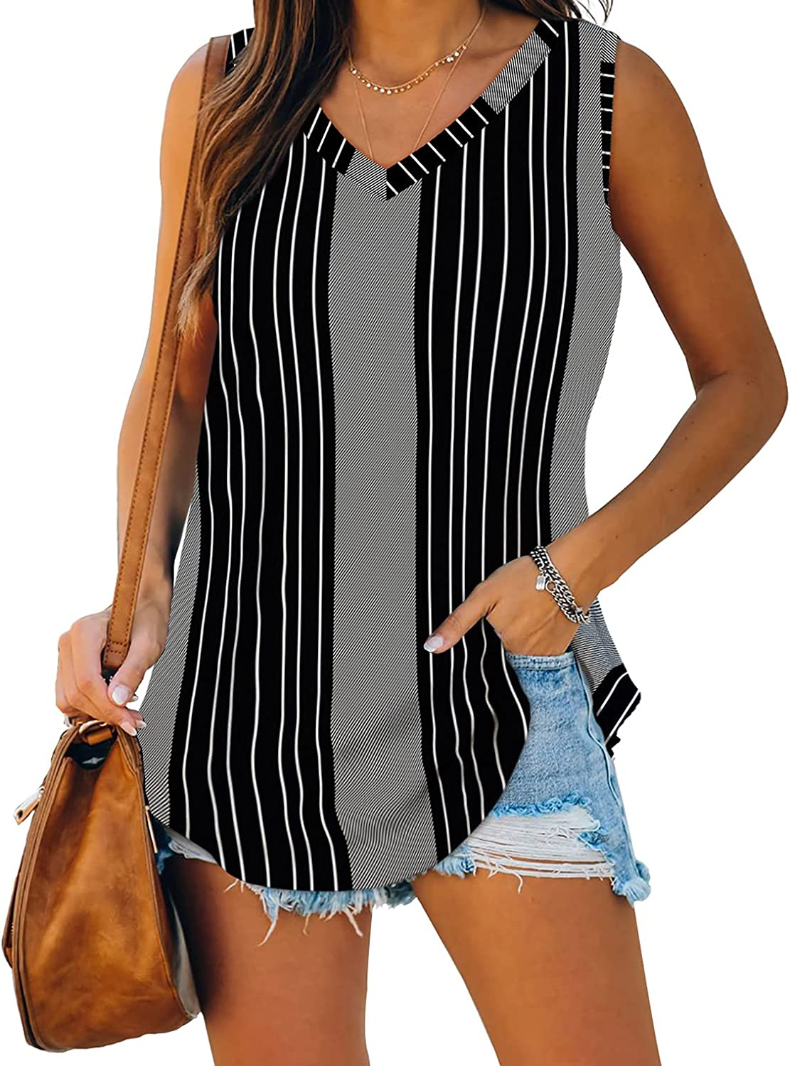 XIEERDUO Womens Tank Tops V Neck Basic Solid Color Casual Flowy Summer Sleeveless