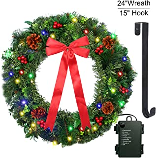 outdoor pre lit wreath battery operated