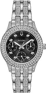 Bulova Women's Swarovski Crystal Quartz Watch with Stainless-Steel Strap, Silver, 16 (Model: 96N110)
