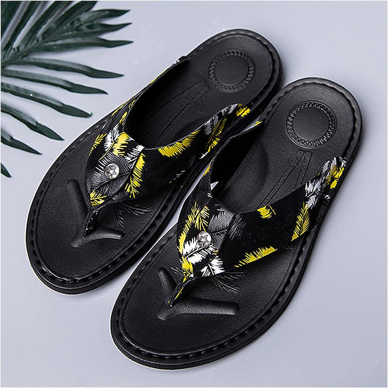 QWEEI Mens Sandal with Sandal Storage Bag, Outdoor Beach Flip-Flops Fashion Summer Printed Casual Flip-Flops Mens Outer Sandal